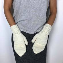 Glove organic wool, cream, chocolate & charcoal