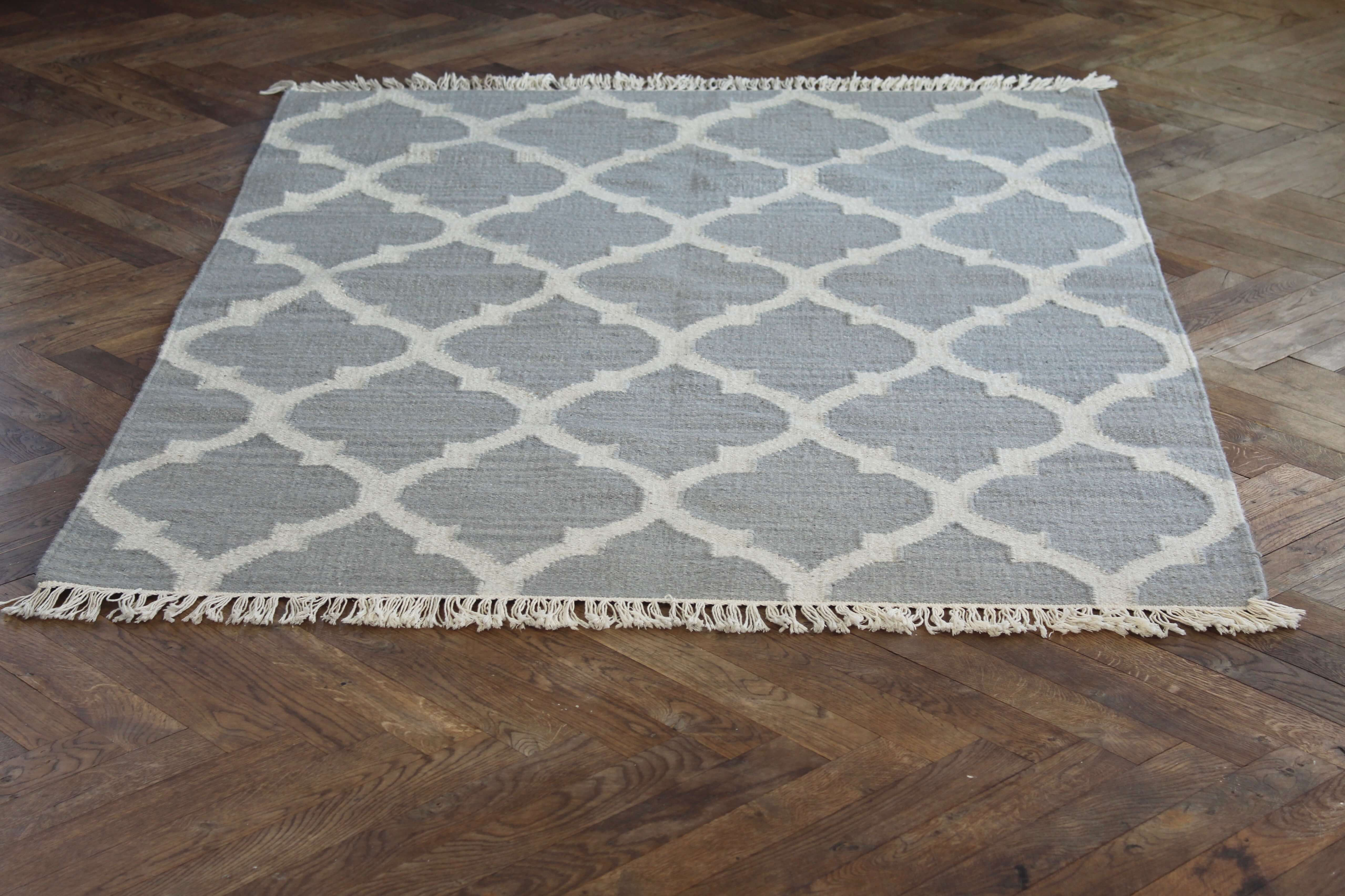 Nomad Living Graphic rug light grey wool/cotten