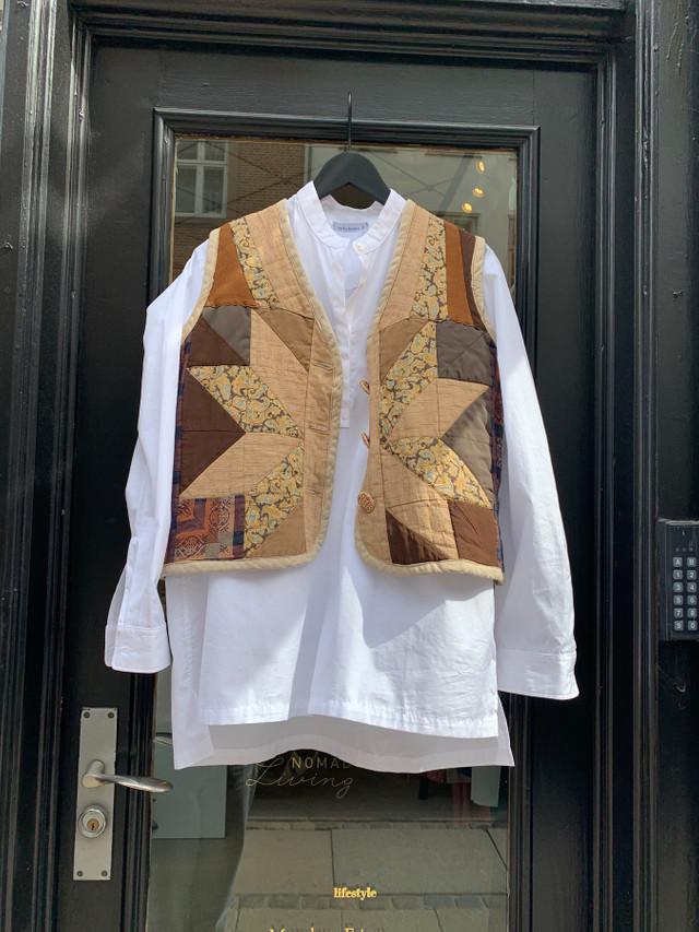 Vest, patchwork brown