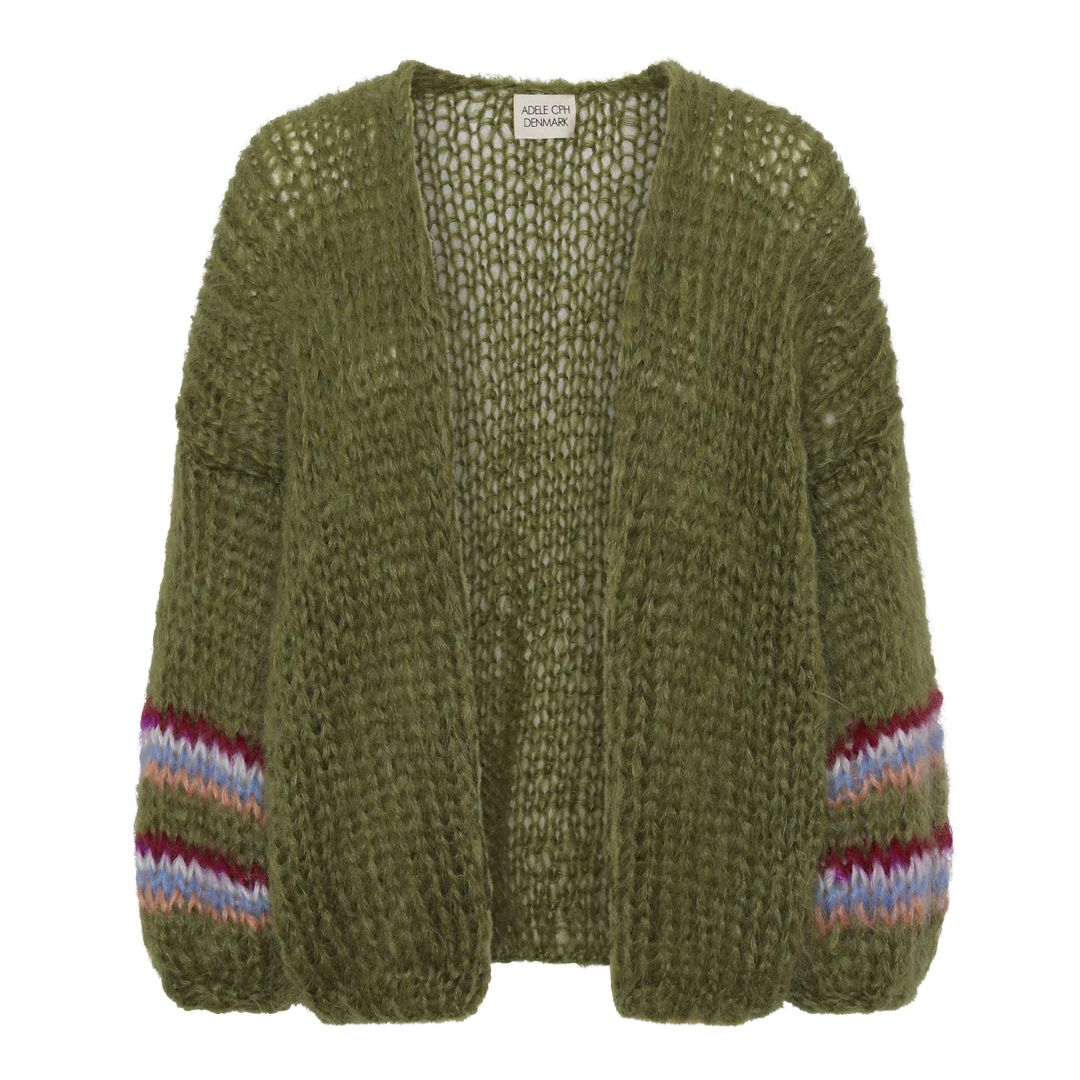 Cardigan mohair, hand knit olive narrow stripe