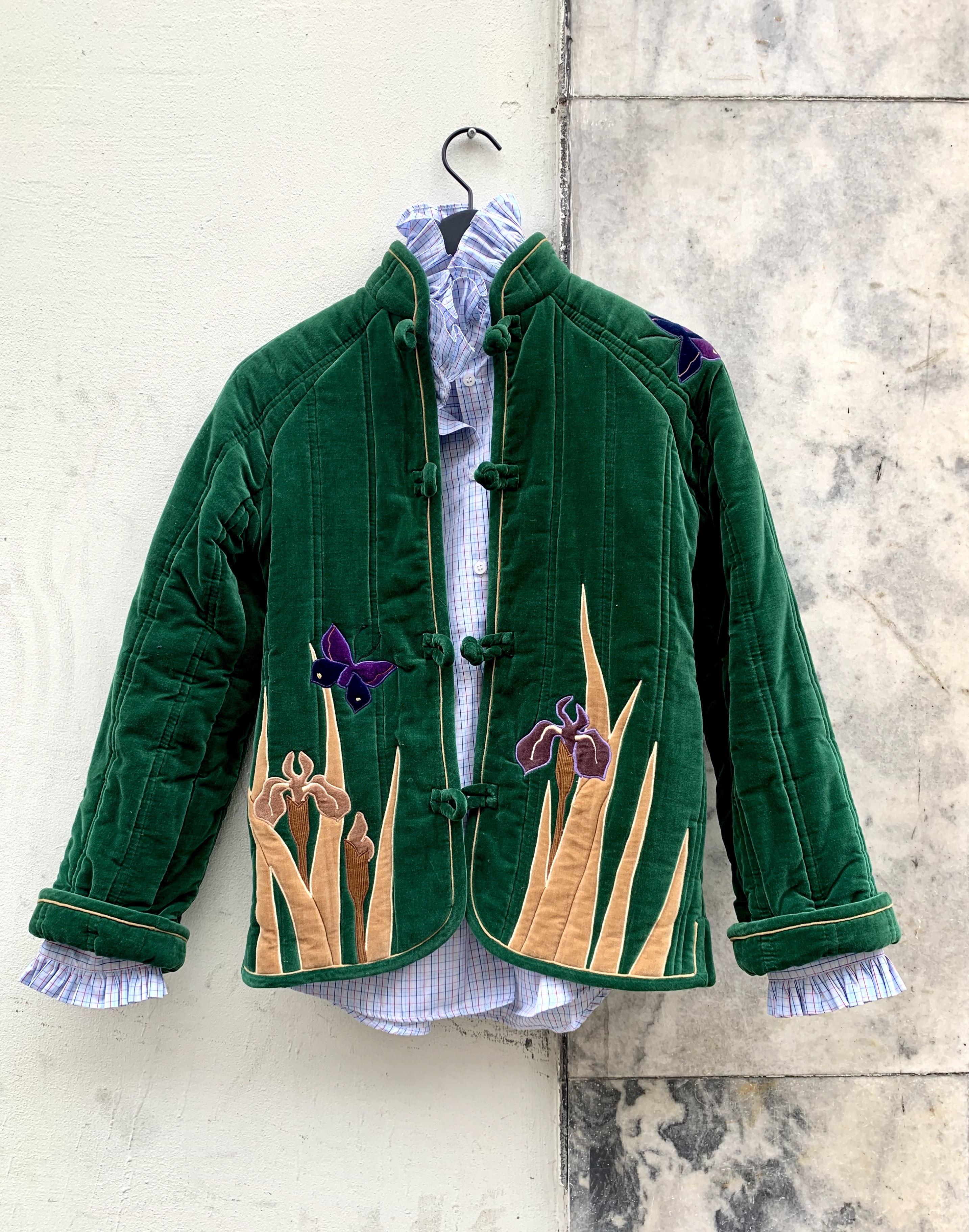 Myre Couture green velvet applique  quilted jacket