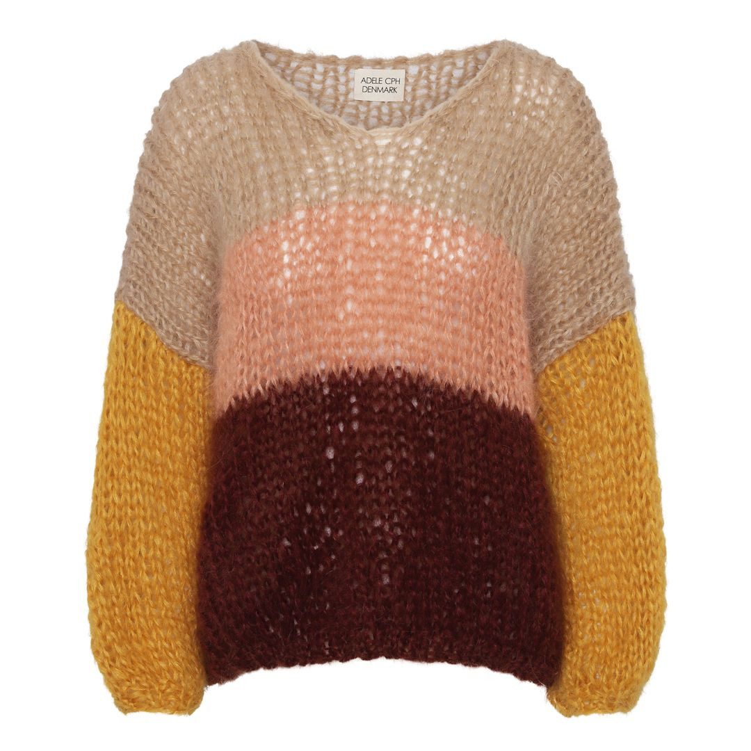 Sweater mohair, hand knit camel, salmon, curriculum