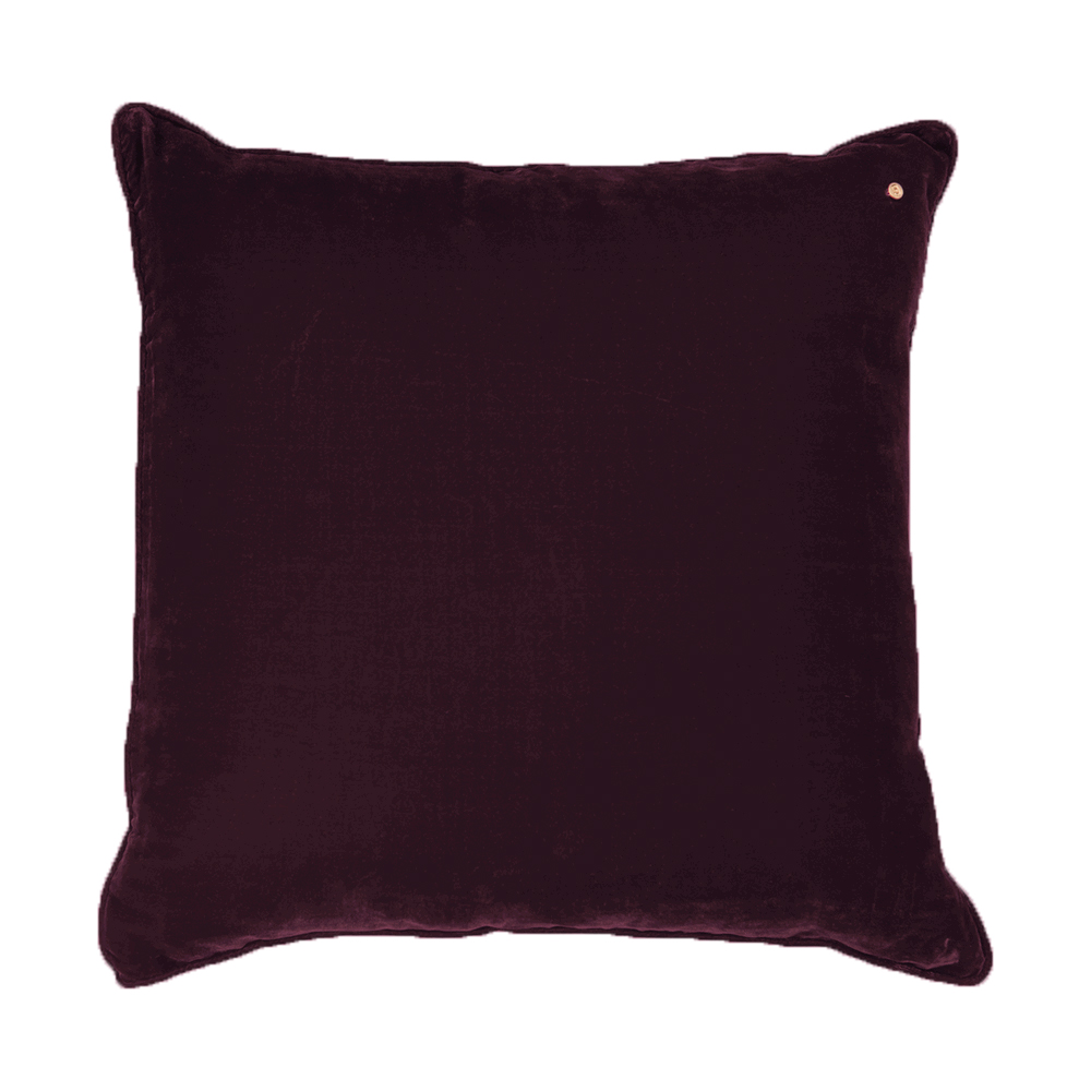 Silk velvet pillow, aubergine
