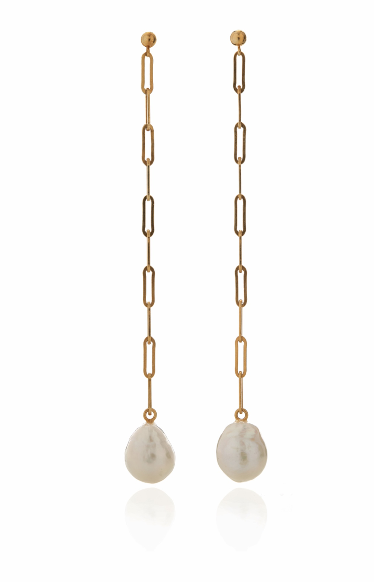 Ceres goldplated 24k eardrops with big round white pearls