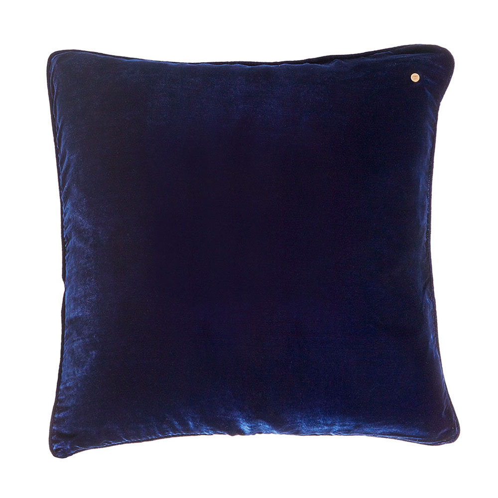 Silk velvet pillow, electric blue
