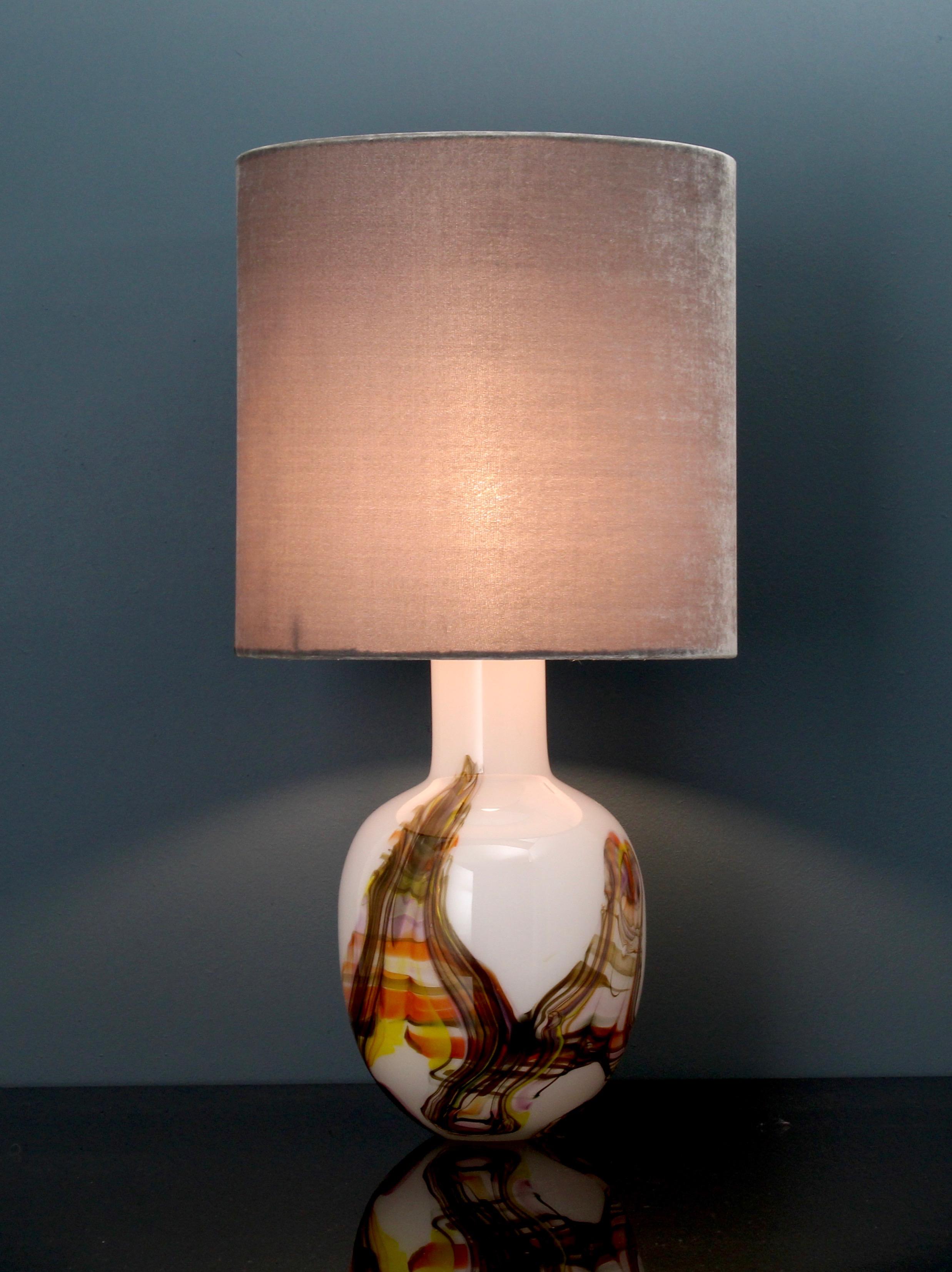 Glass art table lamp, handblown white/orangebrown