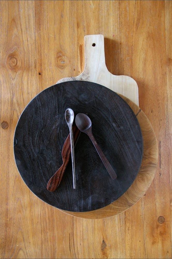 Black teak dinner plate Nomad Living