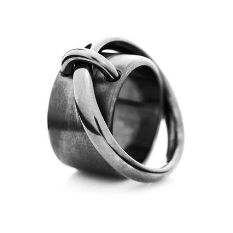Saturn ring oxidized sterlingsilver