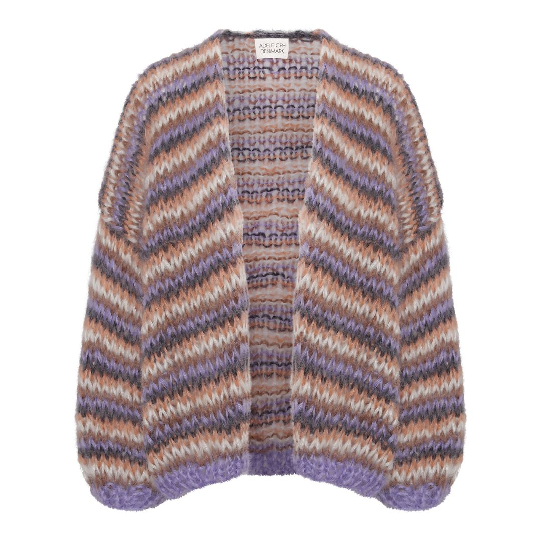 Cardigan mohair, purple, camel, charcoal, pink