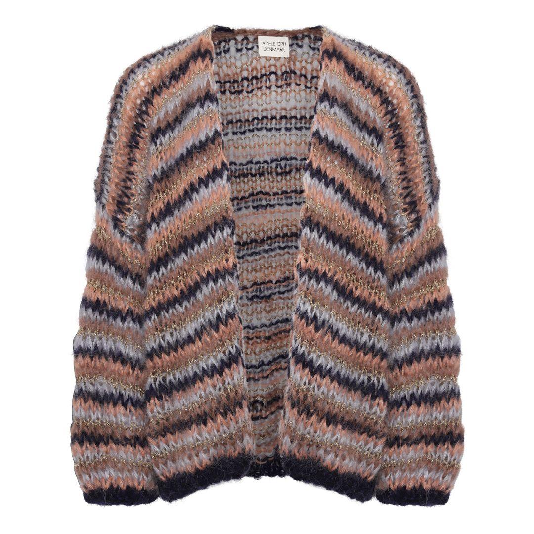 Cardigan mohair, hand knit camel gold stripe