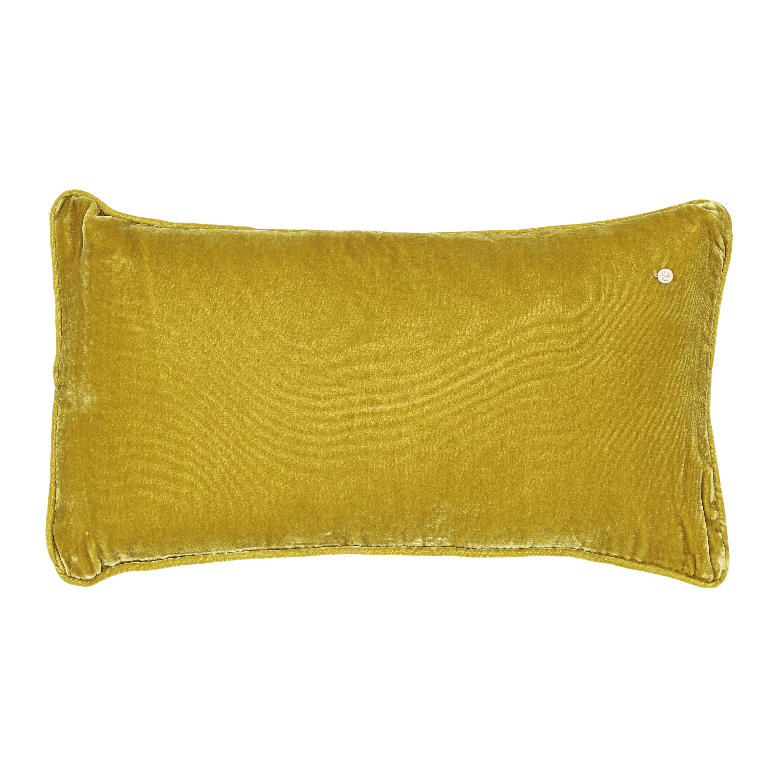 Silk velvet pillow,  golden yellowred