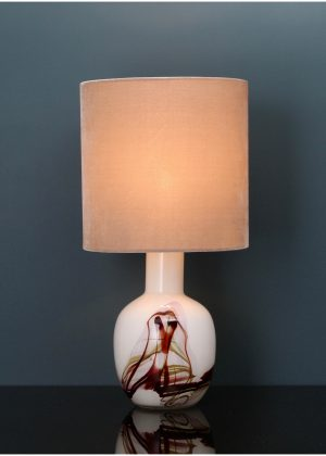 Glass art table lamp, hand blown white/brownred