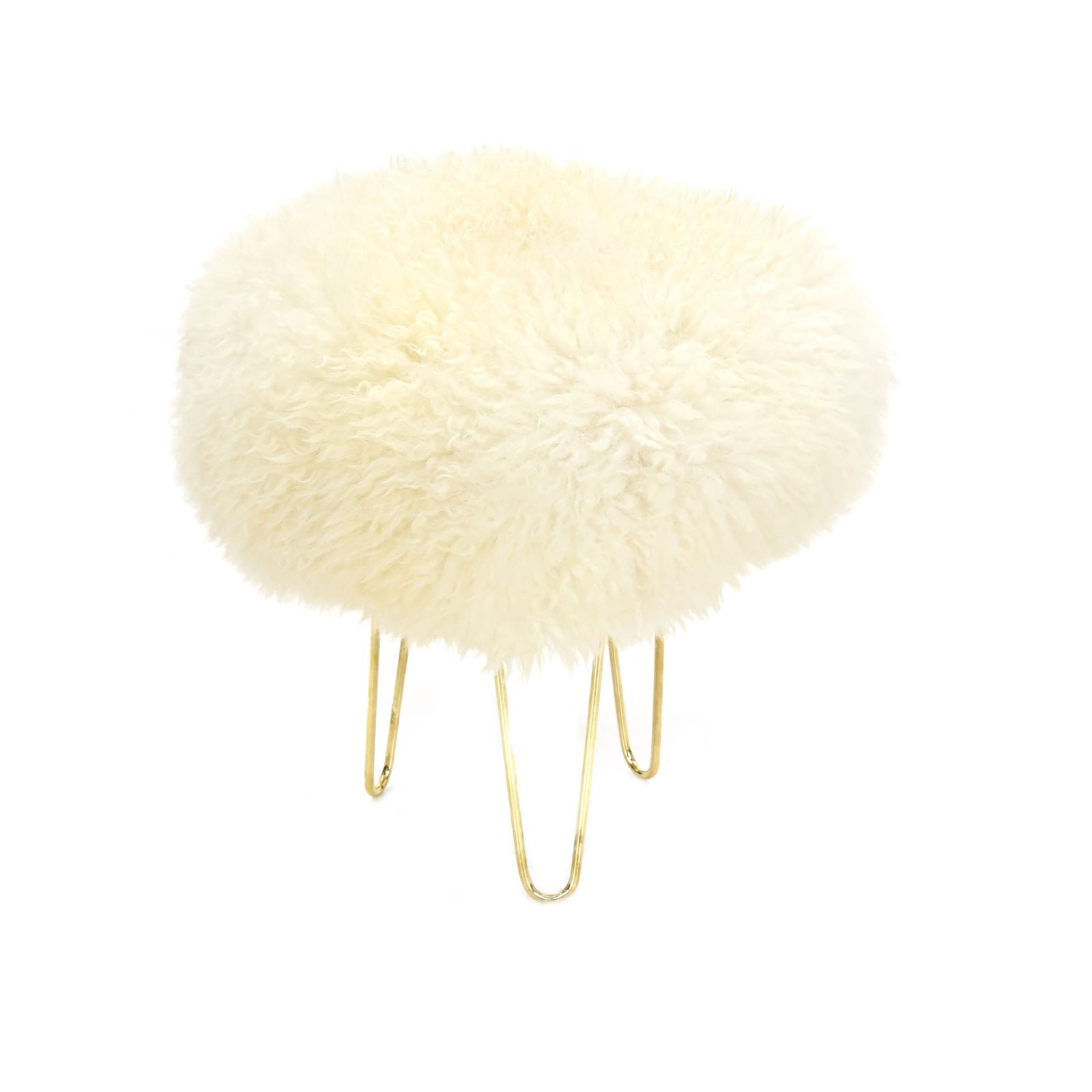 Baa stool Nina in ivory sheepskin 40cm wide x 42cm tall