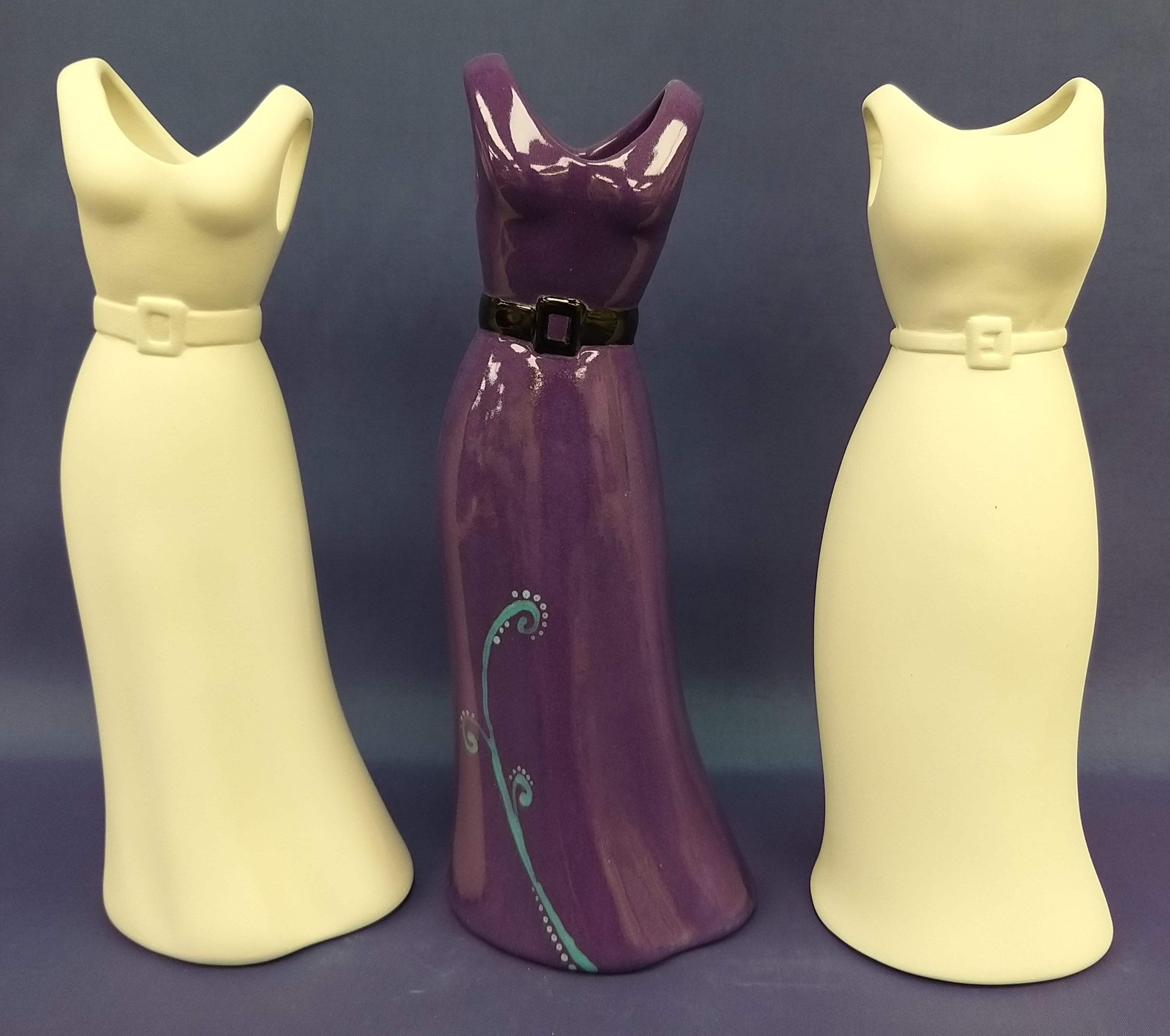Dress Shaped Vase (Clear glaze inside)