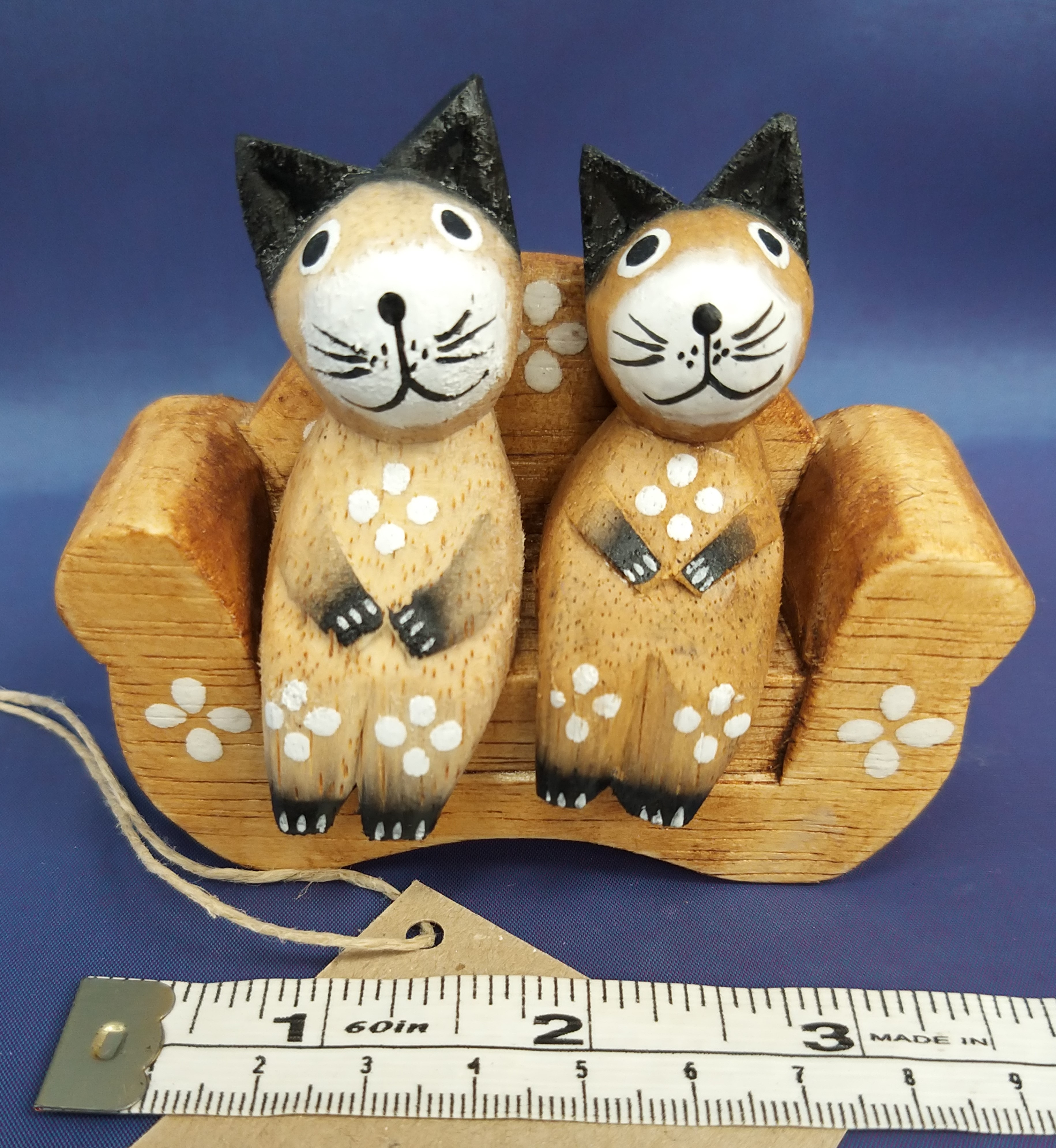 Wooden Cats Sitting on Chair