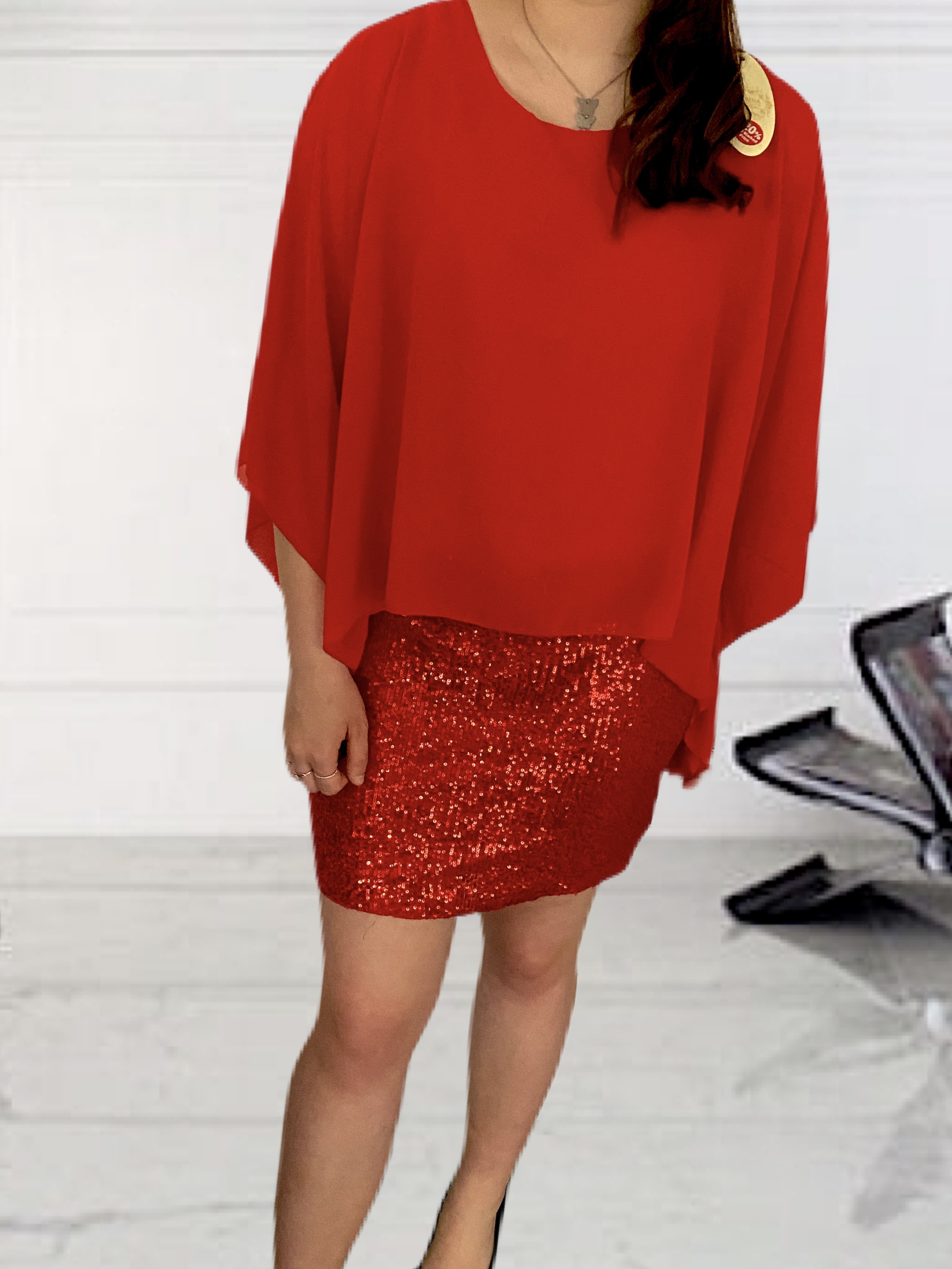 Sequin Cape Dress