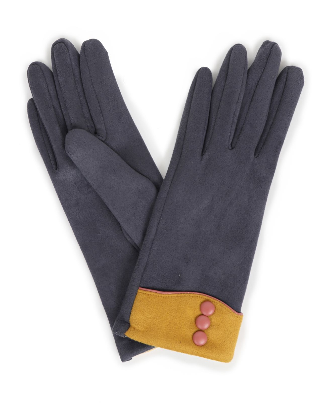 Powder Cassie faux suede gloves in charcoal