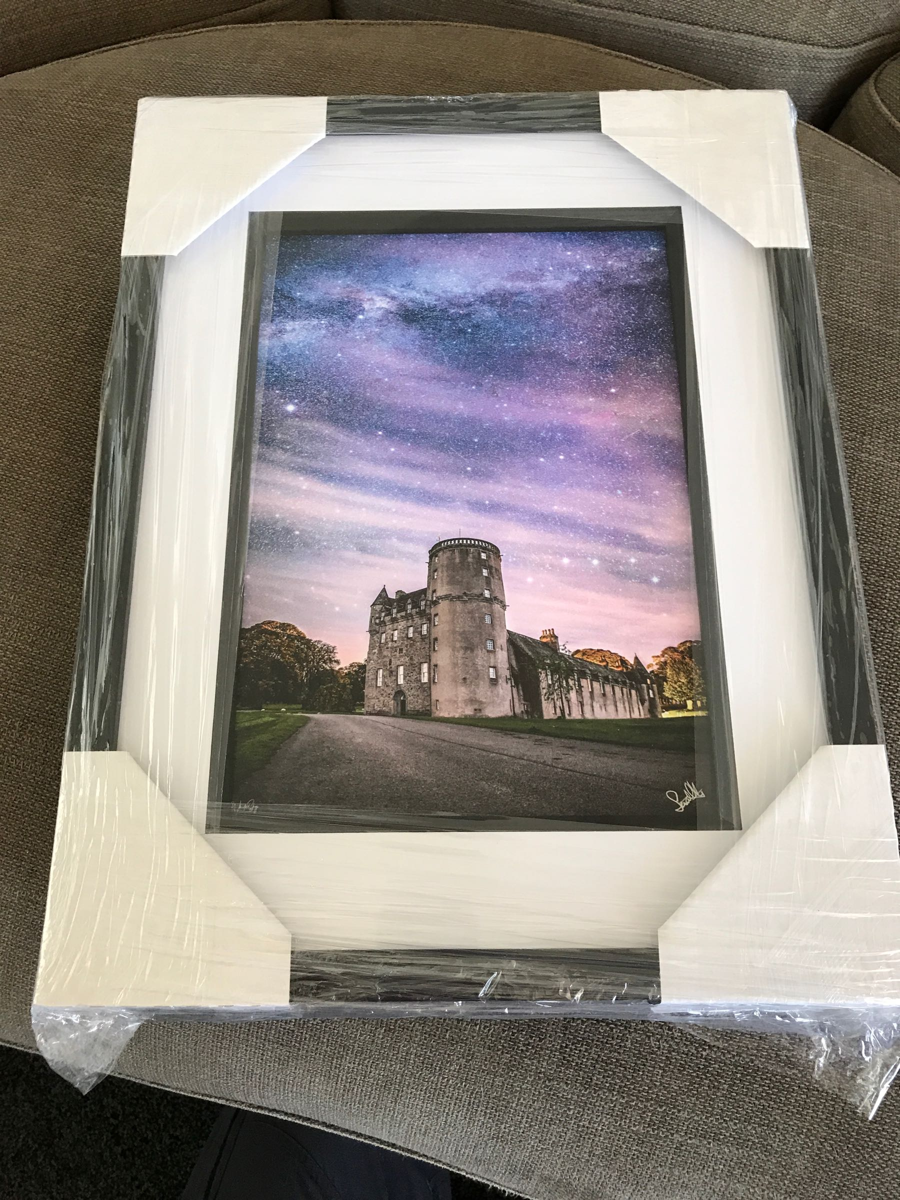 Starlight over Castle Fraser, A4, signed, black