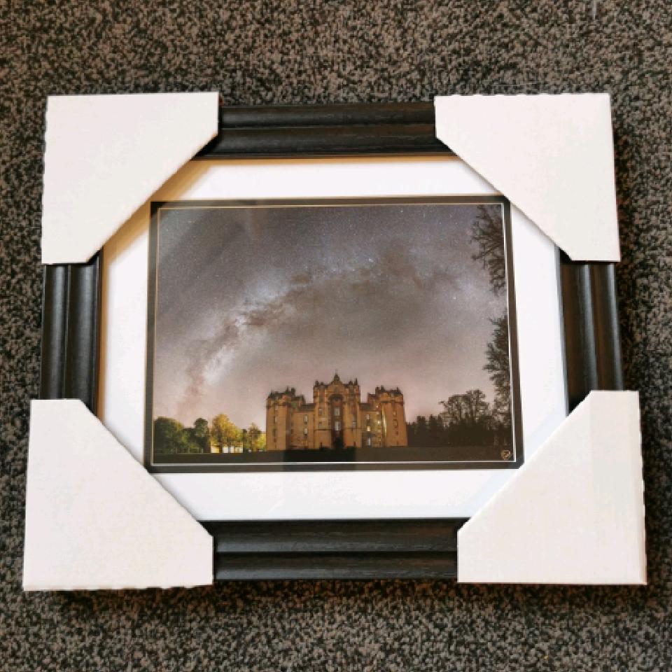 Milkyway over Fyvie Castle, 8x6, black