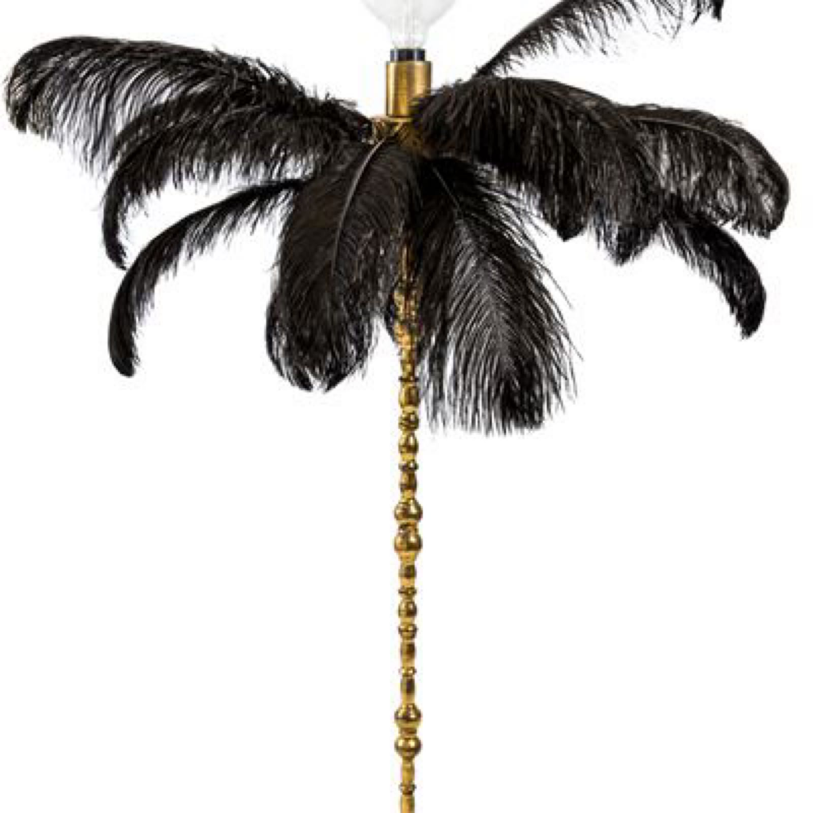 Large black ostrich feather table lamp on a gold base  (HKL38)