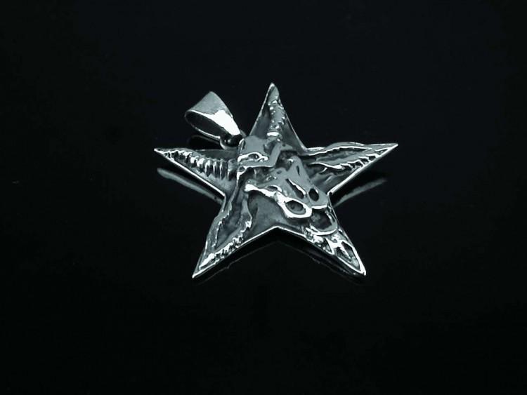 Pentagrammi ja pukinpää riipus hopeaa