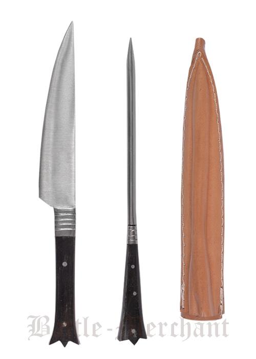 Aterimet keskiajalta syömäpiikki ja veitsi nahkatupessa n.19cm