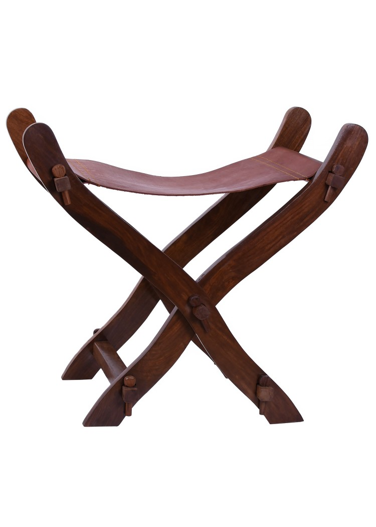 Medieval Scissors Chair with leather seat