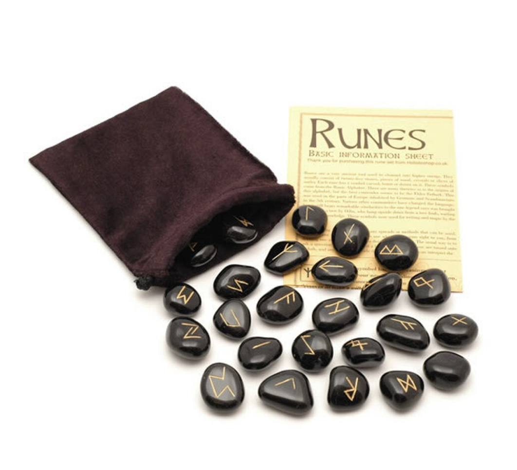 Crystal Rune Stones - Black Jasper