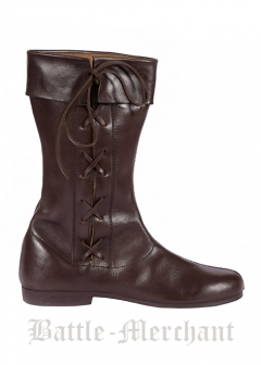 Side Laced High Boots, dark brown