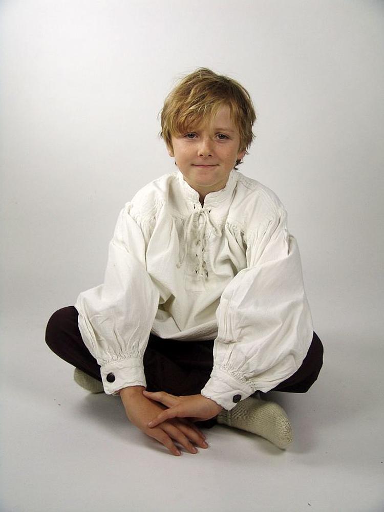 """Lasten pystykauluksinen nyöripaita """"Finn"""" valkoinen"""