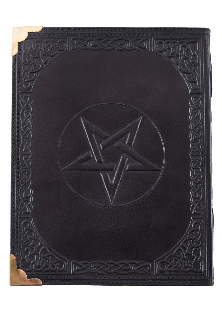 Black Leather Diary with Pentagram, approx. 18 x 23 cm