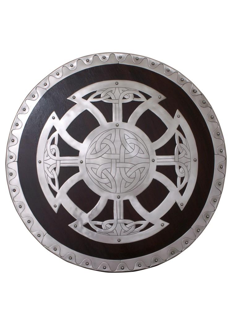 Pyöreä viikinkikilpi näyttävin metallikoristein