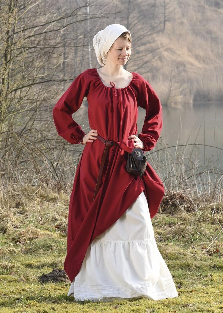 Keskiaikainen alushame/hame luonnonvalkoinen