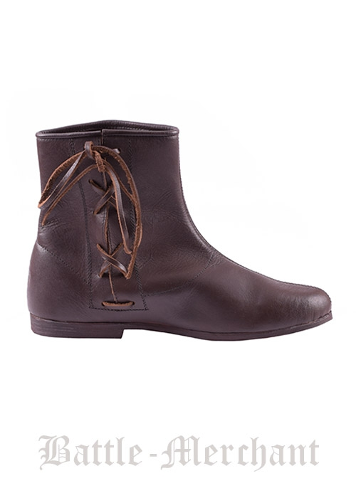 Side Laced Ankle Boots, dark brown