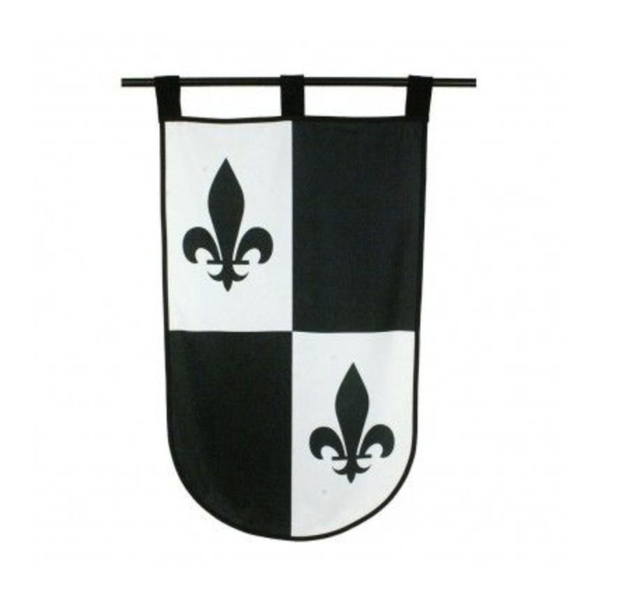 Mustavalkoinen ranskanlilja banneri 60 x100 cm