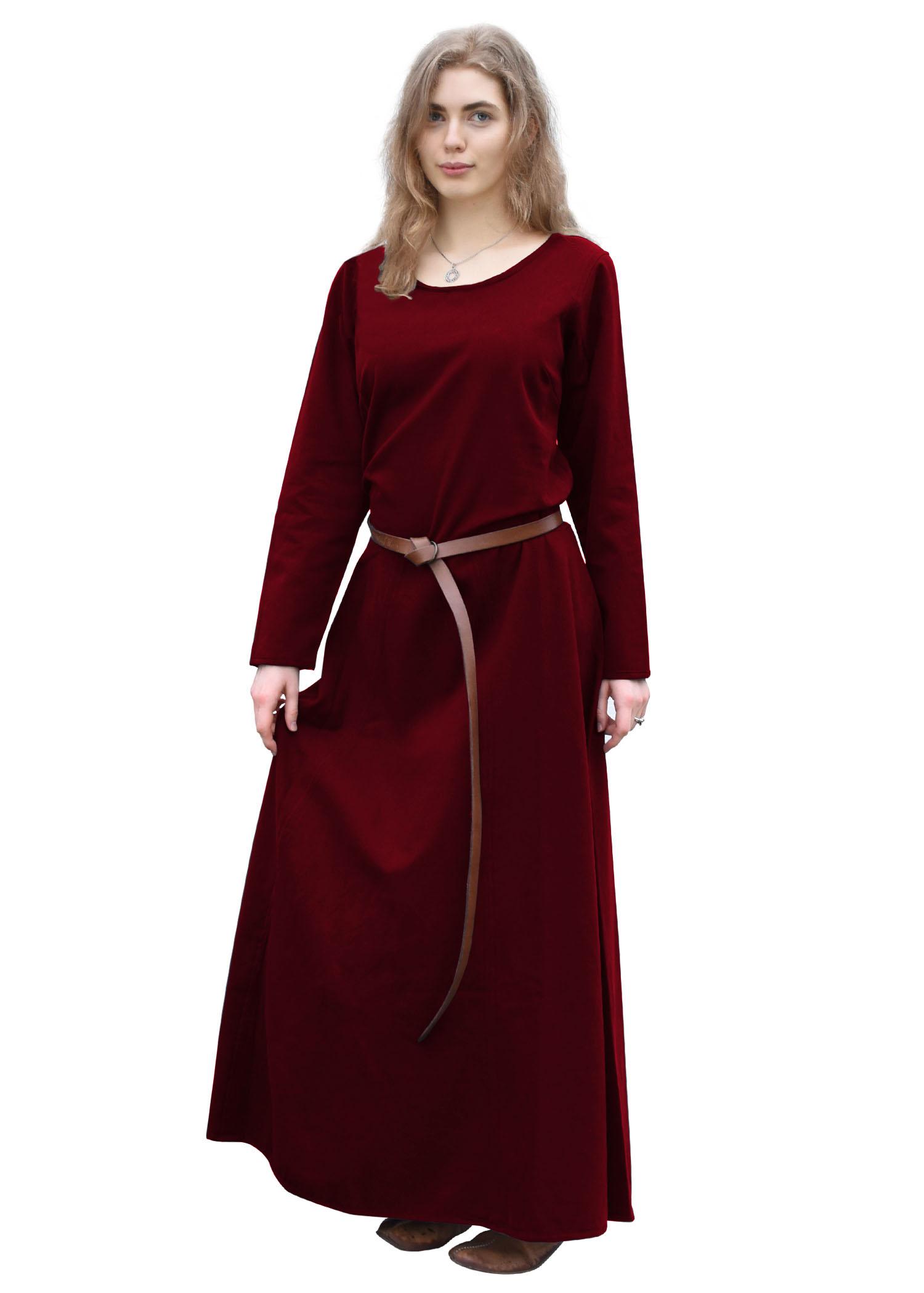 Keskiaikainen mekko Afra, viininpunainen, puuvillaa