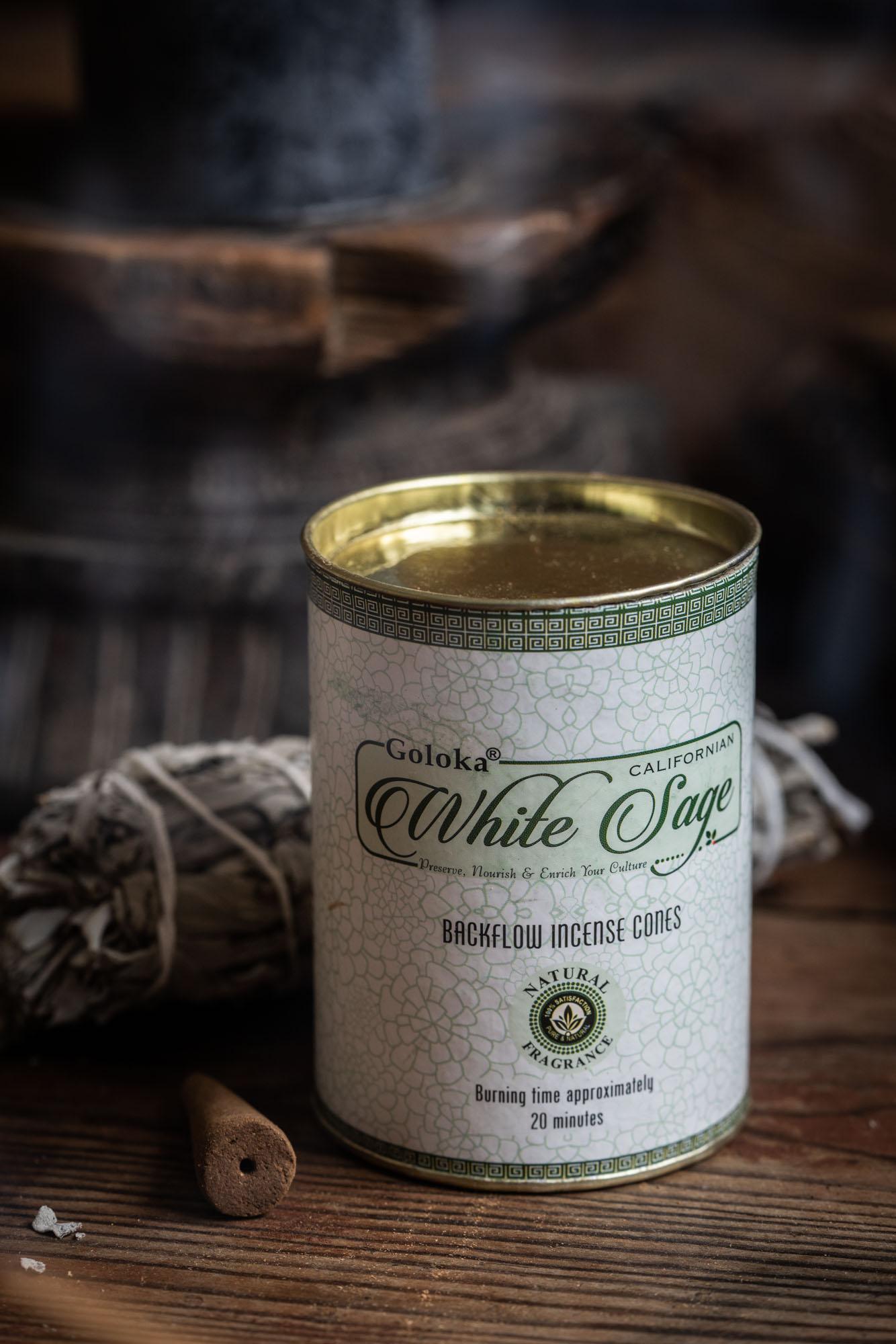 Goloka Valkosalvia, White Sage vastavirtaava suitsukekartio