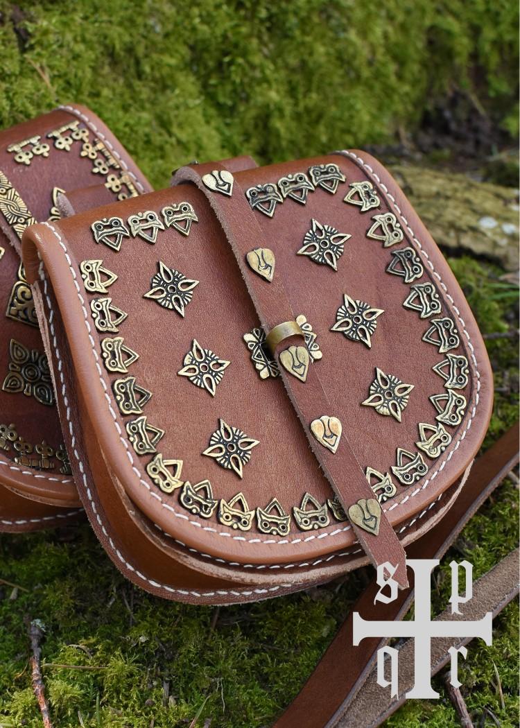Tarsoly koristeltu viikinki vyölaukku nahkaa