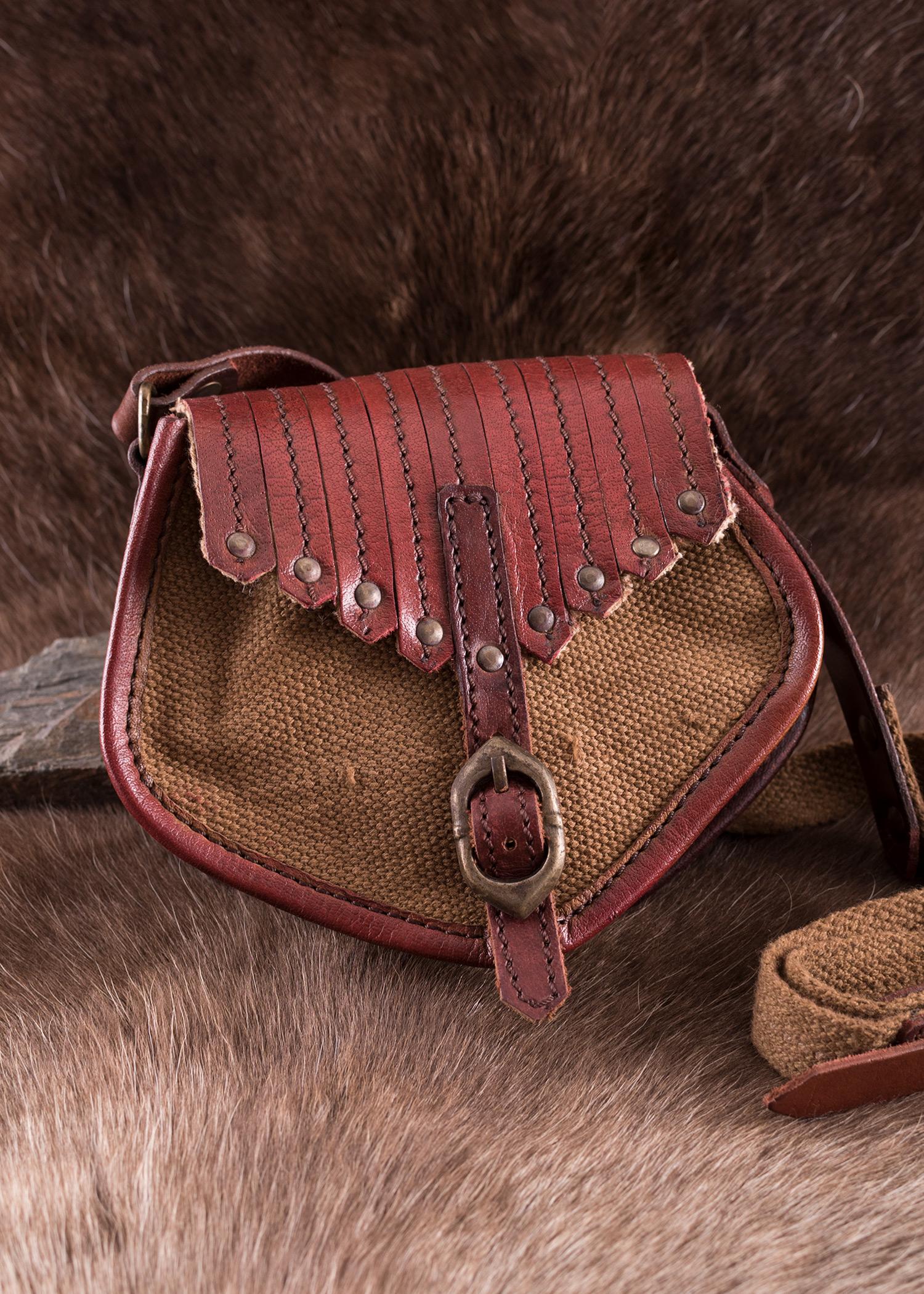 Viikinki henkinen laukku nahkaa ja canvasta