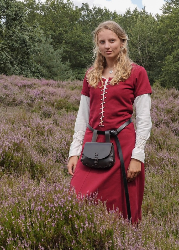 Short-sleeved Cotehardie Ava, Medieval Dress, wine red