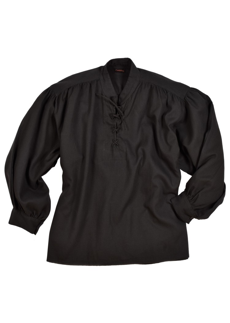 Kuvioitu paita pystykauluksella ja nyörillä musta