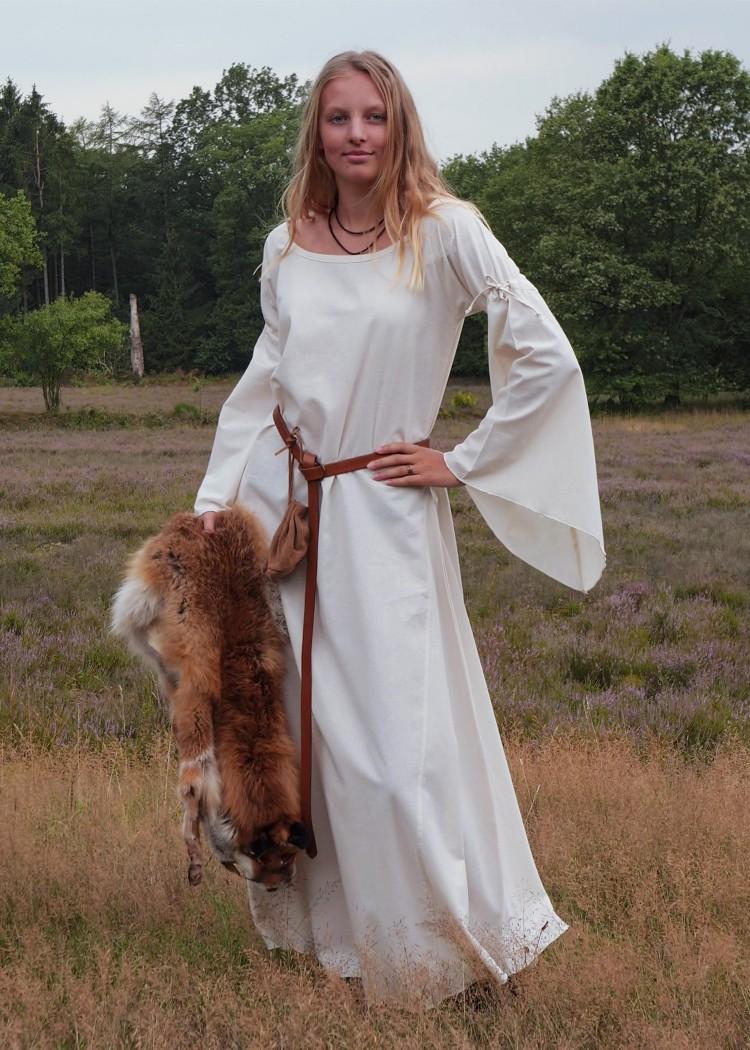 Keskiaikamekko Burglinde trumpettihihoilla, valkoinen