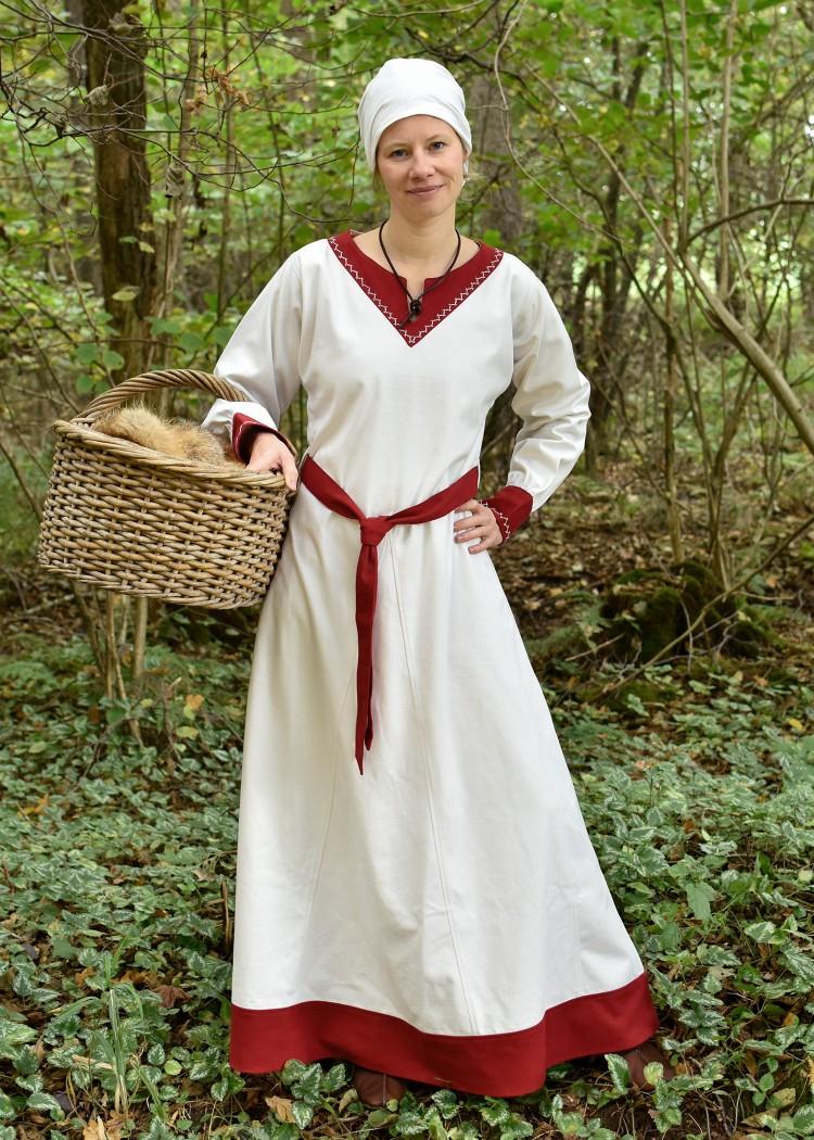 Viking Dress Jona, natural-coloured/red