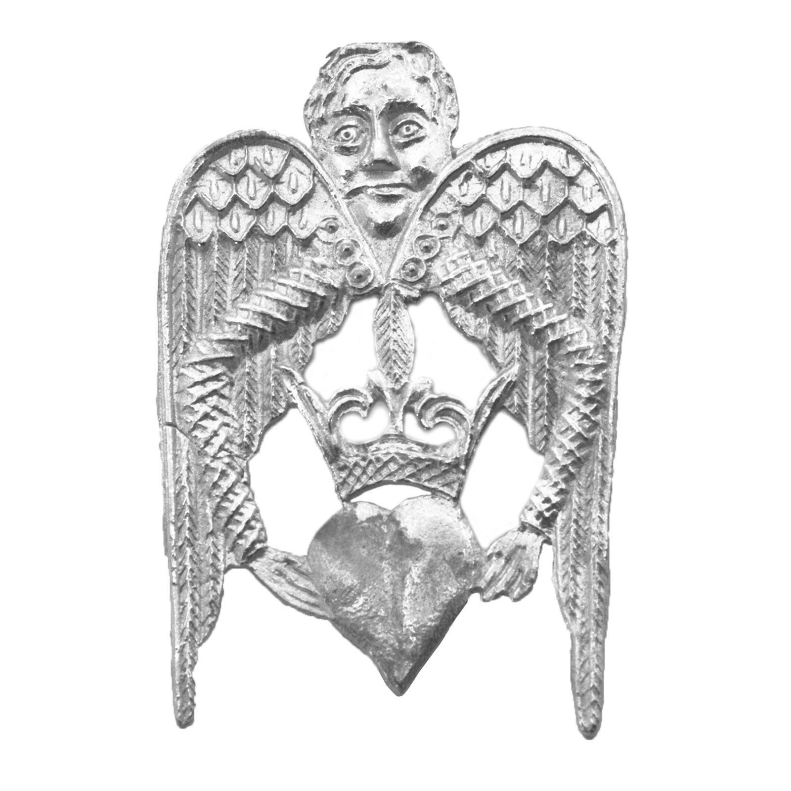 Enkeli ja sydän tinapinssi 1300 luvulta