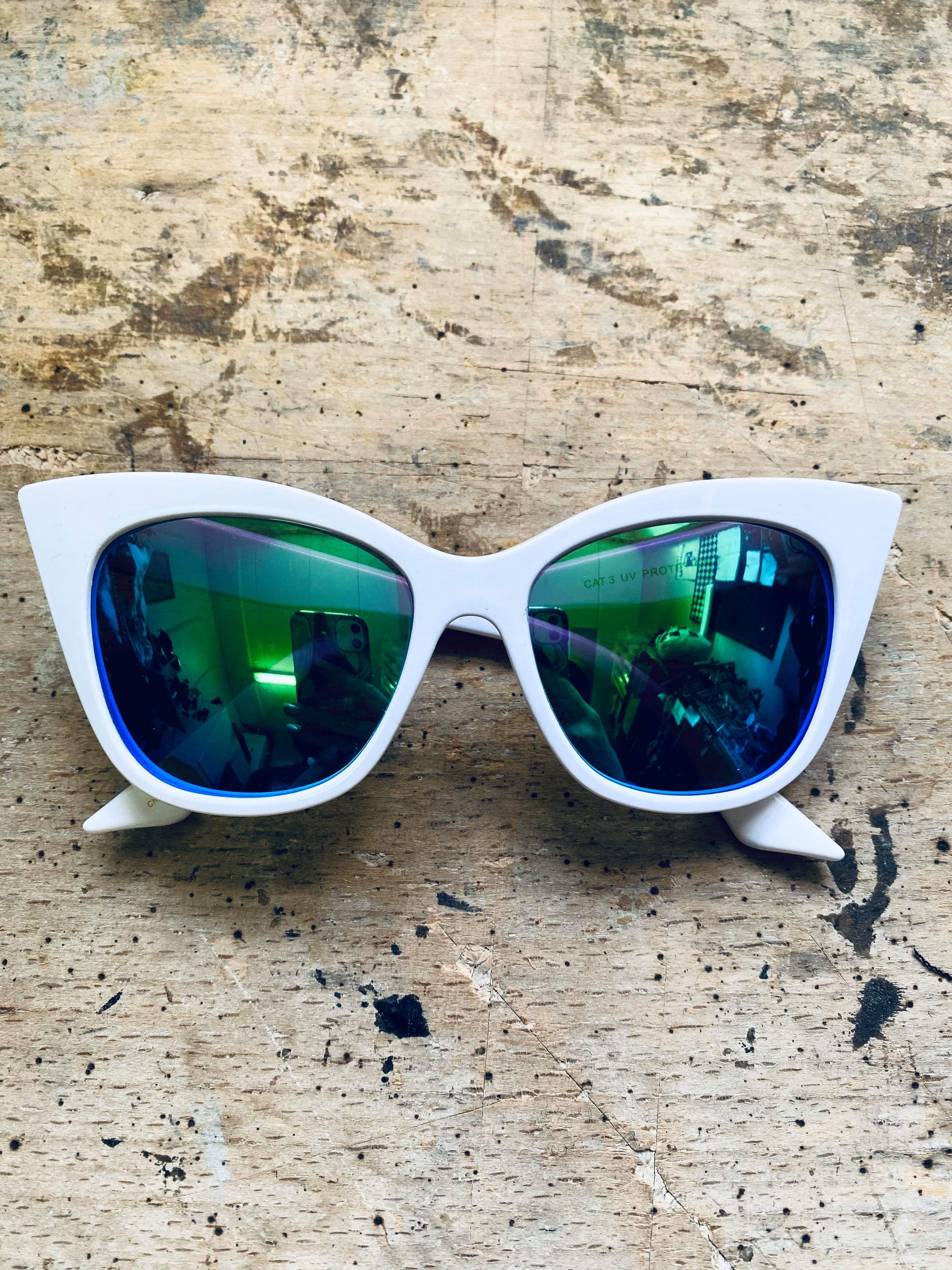 80's Cateye Solbrillor White