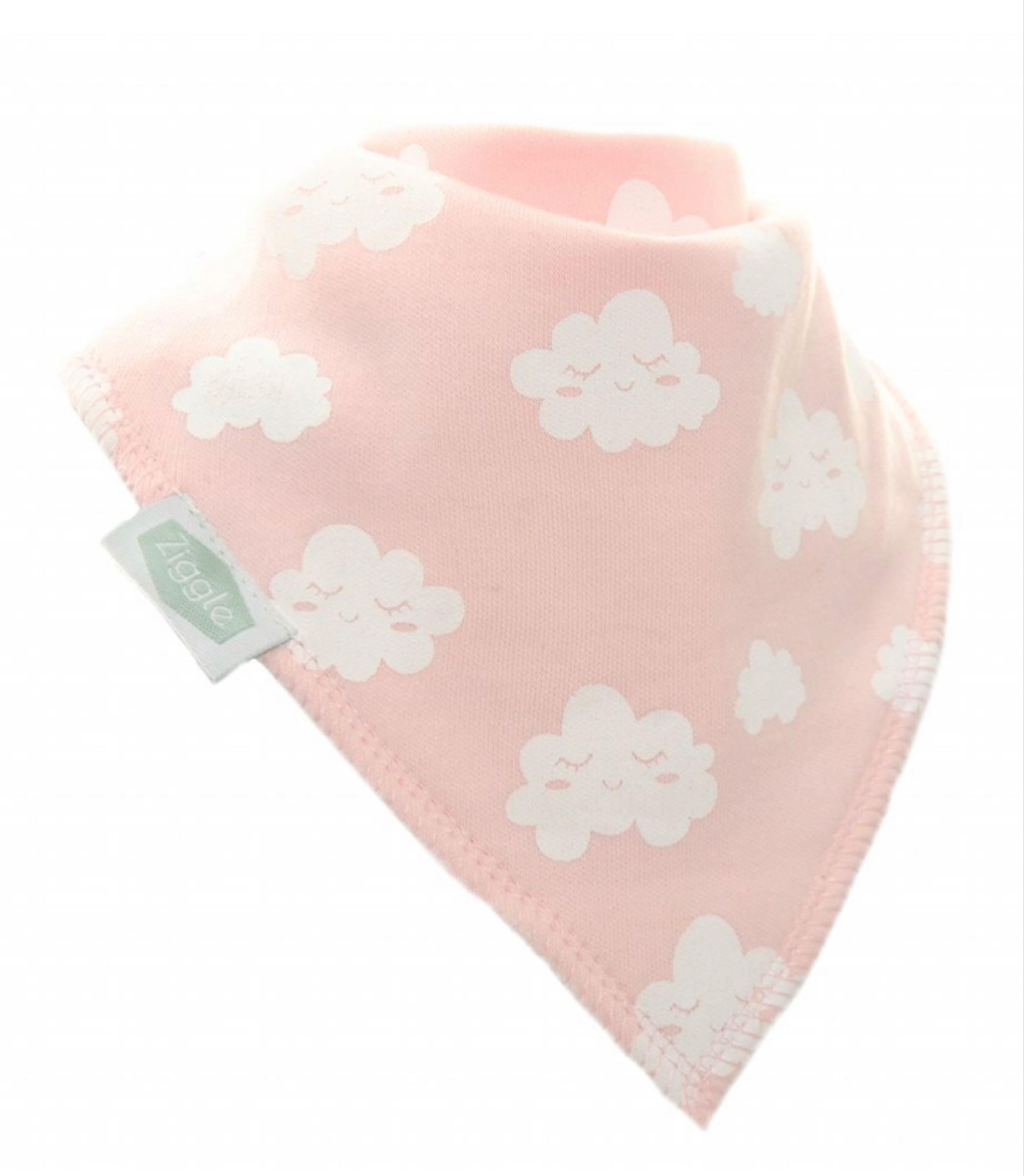 Ziggle  Pink Winking Clouds Bandana Bib
