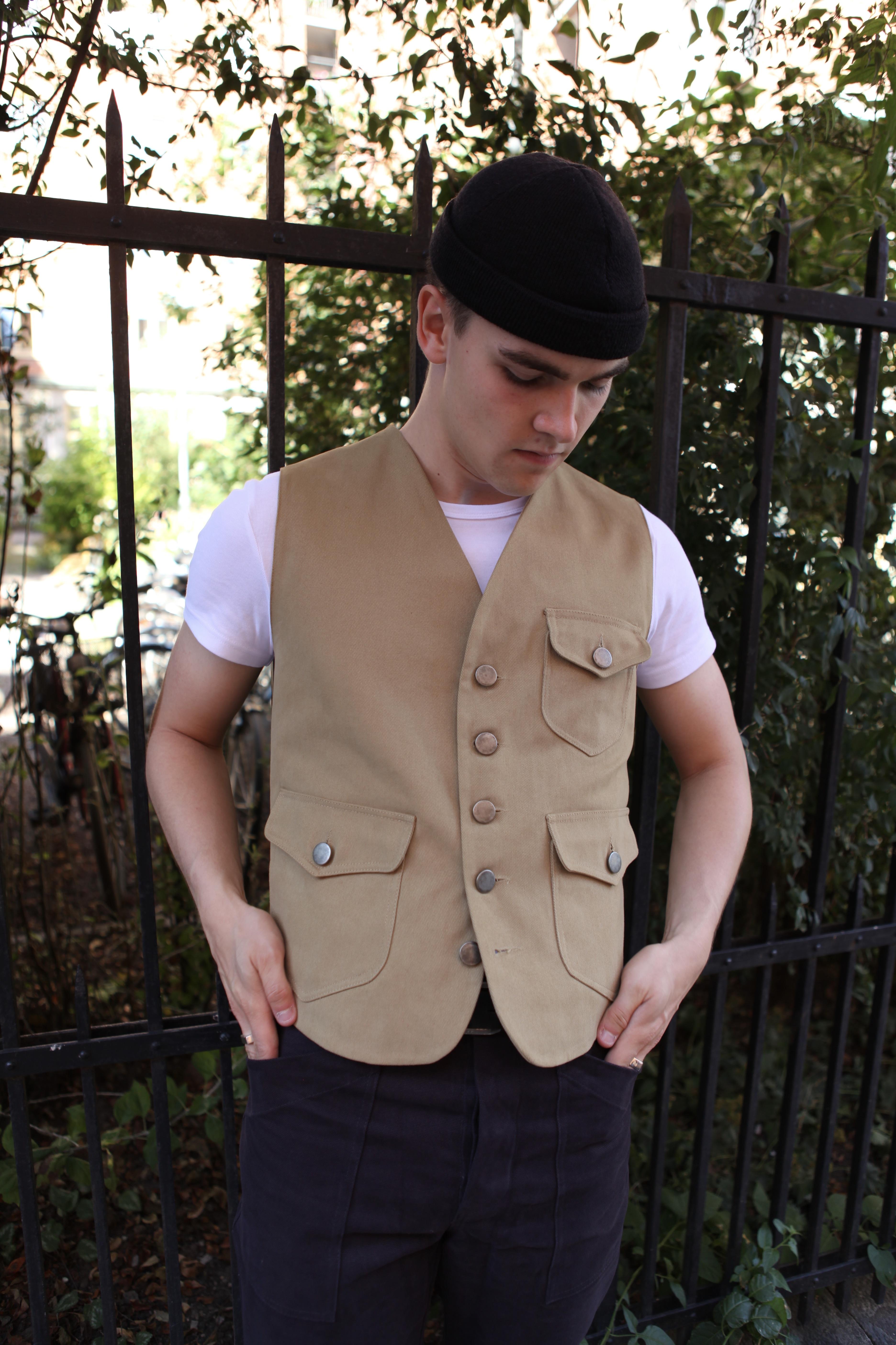Kaki Canvas-Denim vest from Tonton et fils