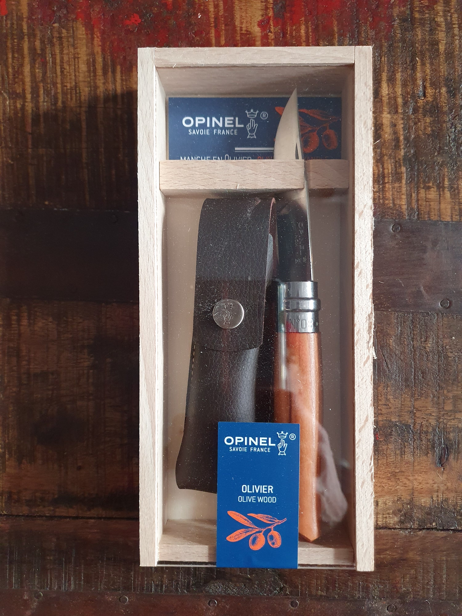 Opinel Nr 8 Olive / Leather - Gift box
