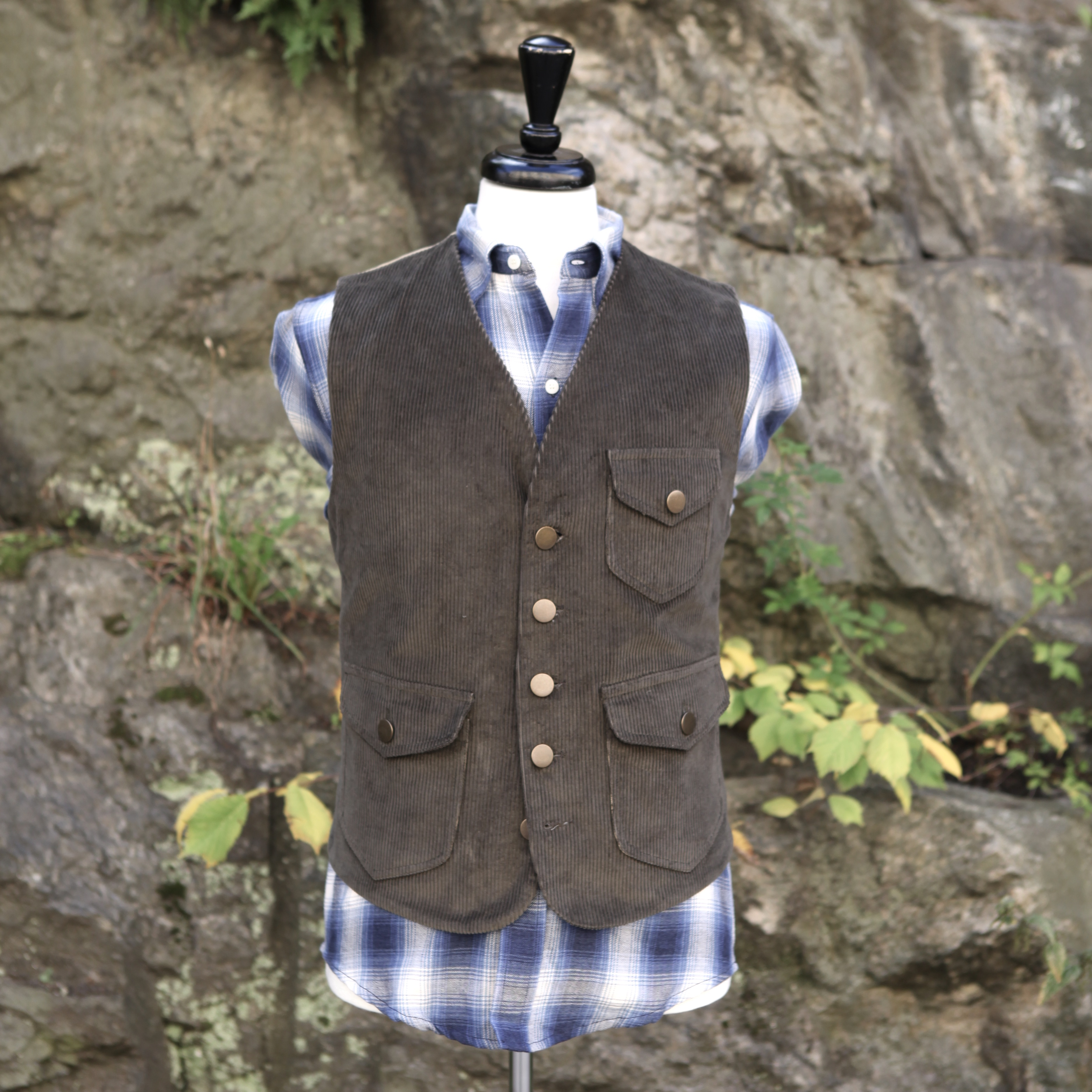 Tonton Olive Corduroy and khaki vest