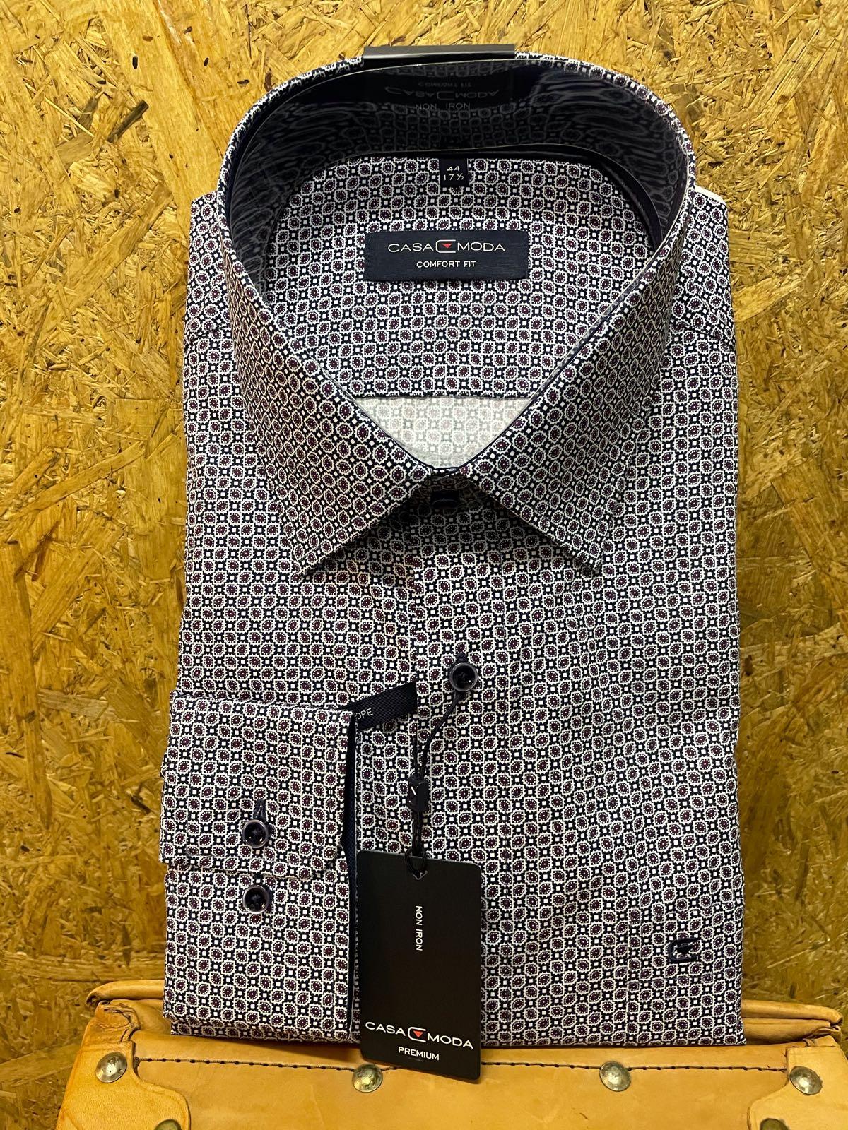Casa Moda l/æ skjorte Blå mønster